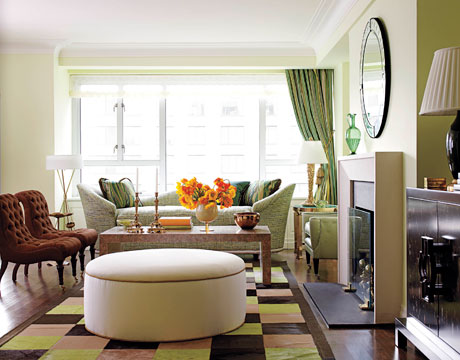 Soft green living room with warm accents photo from house